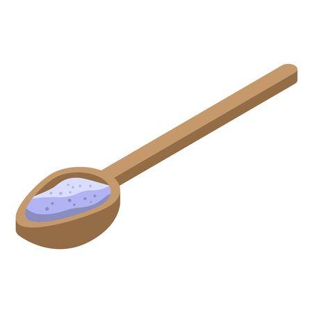 Wood spoon flour icon, isometric style Illusztráció