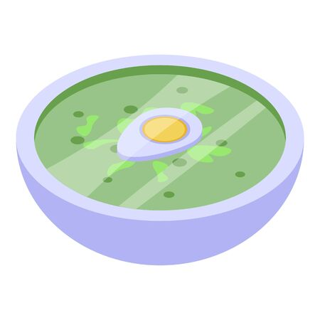 Green egg soup icon, isometric style Vetores