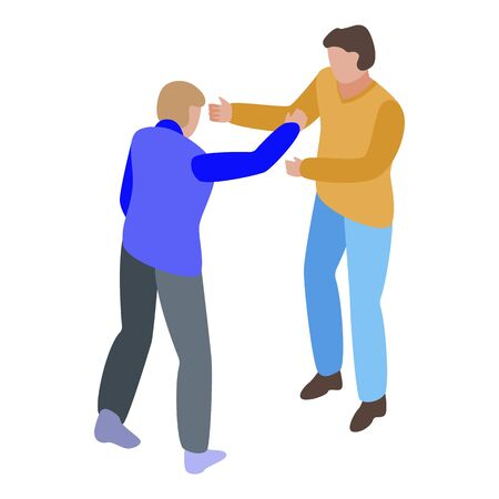 Street man fight icon, isometric style