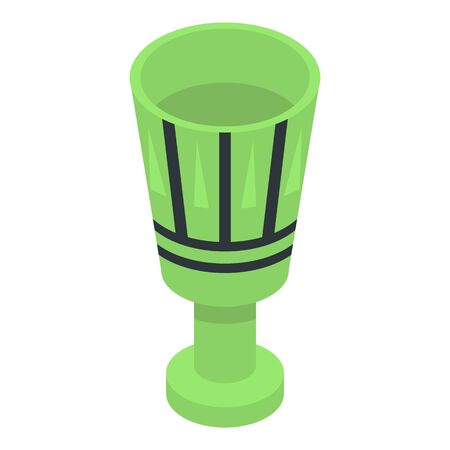 Pharaoh green cup icon, isometric style