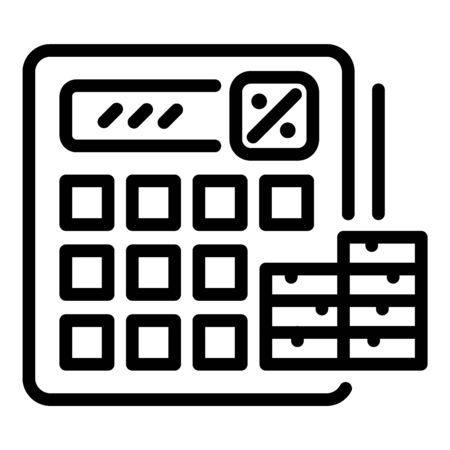 Tax calculator icon. Outline tax calculator vector icon for web design isolated on white background Ilustração