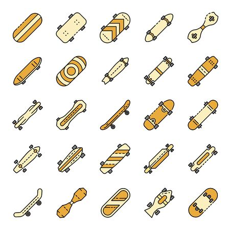 Skateboard icons set. Outline set of skateboard vector icons thin line color flat on white