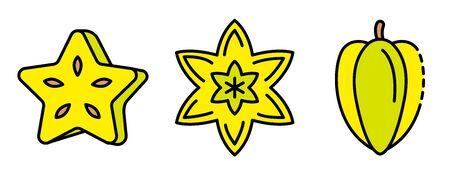 Carambola icons set vector flat