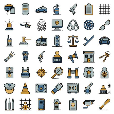 Police equipment icons set vector flat Foto de archivo - 149835202