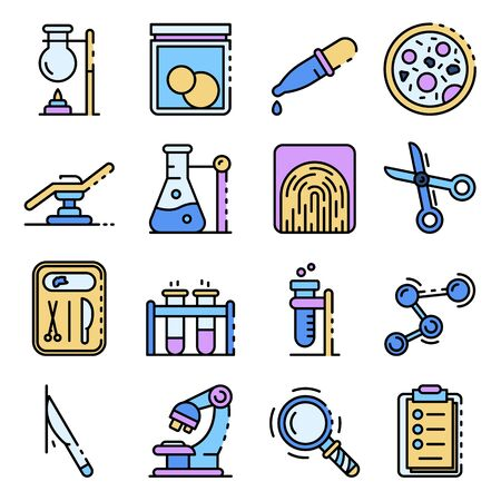 Forensic laboratory icons set vector flat