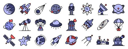 Space research technology icons set vector flat