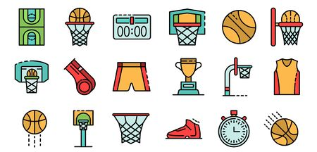 Basketball equipment icons set vector flat