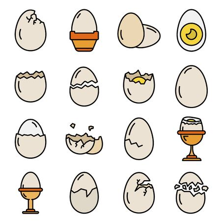 Eggshell icons set vector flat Illustration