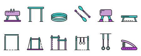 Gymnastics equipment icons set vector flat Illustration