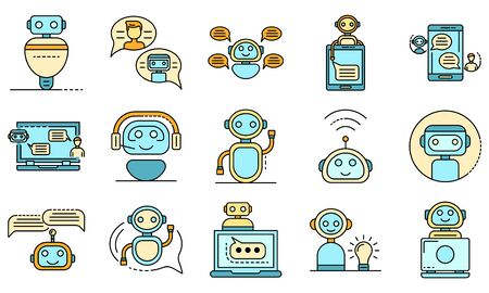 Chatbot icons set vector flat