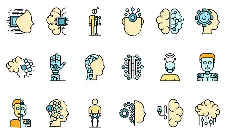 Humanoid icons set vector flat