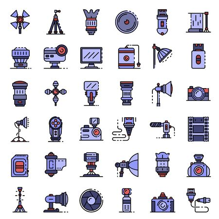 Photographer equipment icons set vector flat