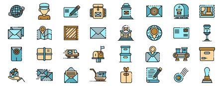Postman icons set vector flat Stock Illustratie