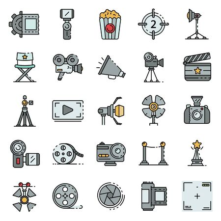 Film production icons set vector flat Ilustração