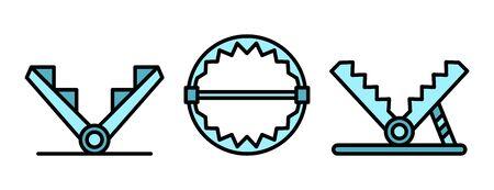 Trap icons set vector flat