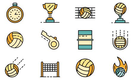 Volleyball icons set vector flat