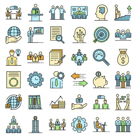 Corporate governance icons set vector flat