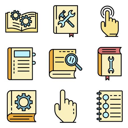 User guide icons set vector flat