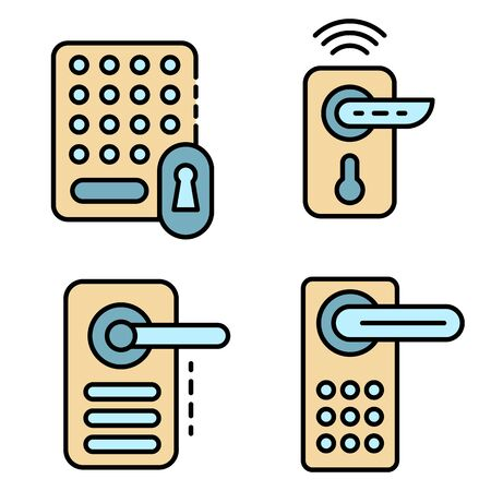 Wireless door lock icons set. Outline set of wireless door lock vector icons thin line color flat on white