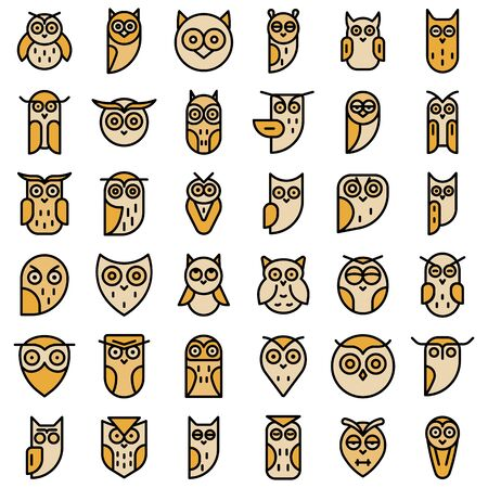 Owl icons set. Outline set of owl vector icons thin line color flat on white