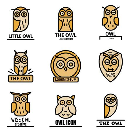 Owl icon set. Outline set of owl vector   thin line color flat on white
