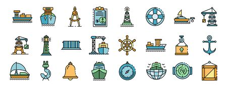 Marine port icons set vector flat