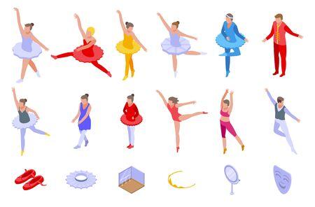 Ballet icons set, isometric style
