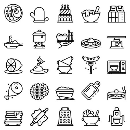 Homemade food icons set. Outline set of homemade food vector icons for web design isolated on white background