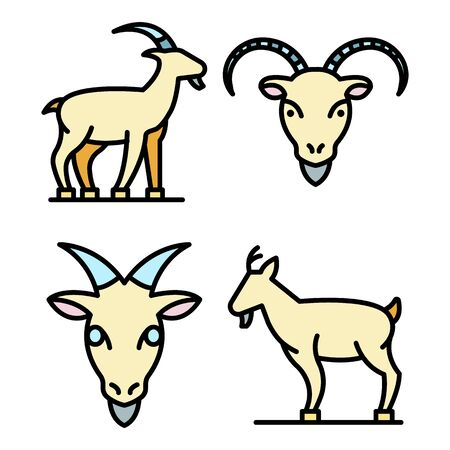 Goat icons set. Outline set of goat vector icons thin line color flat on white