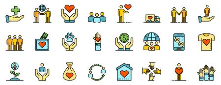 Volunteering icons set. Outline set of volunteering vector icons thin line color flat on white