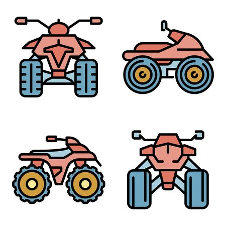 Quad bike icons set. Outline set of quad bike vector icons thin line color flat on white Stock Illustratie