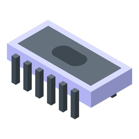 Processor radio unit icon, isometric style