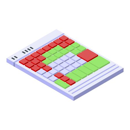 Audio keyboard icon. Isometric of audio keyboard vector icon for web design isolated on white background
