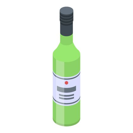 Green wine bottle icon. Isometric of green wine bottle vector icon for web design isolated on white background Illustration