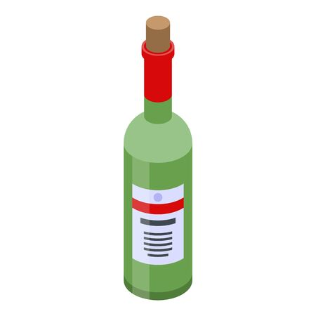 Restaurant wine bottle icon. Isometric of restaurant wine bottle vector icon for web design isolated on white background