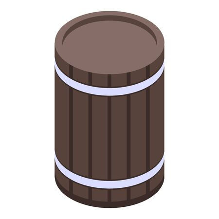 Old wine barrel icon. Isometric of old wine barrel vector icon for web design isolated on white background
