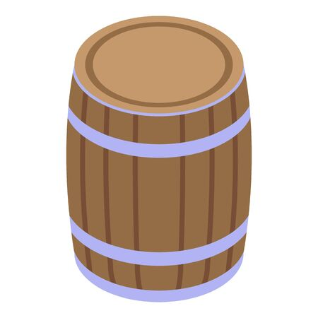 Wood wine barrel icon. Isometric of wood wine barrel vector icon for web design isolated on white background
