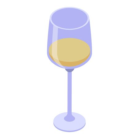 Half white wine glass icon. Isometric of half white wine glass vector icon for web design isolated on white background Illustration