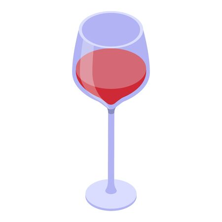 Half wine glass icon. Isometric of half wine glass vector icon for web design isolated on white background