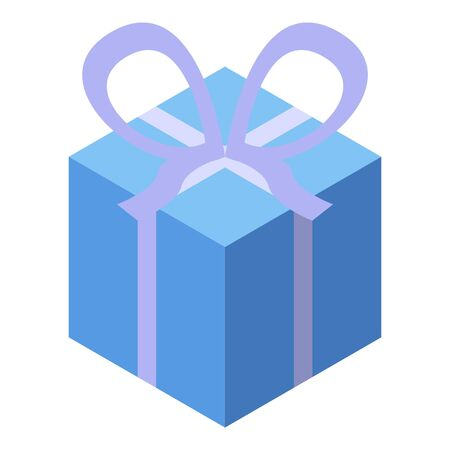 Courier gift box icon, isometric style