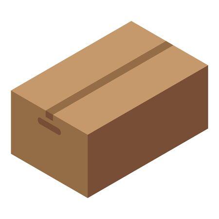Courier parcel box icon, isometric style Çizim