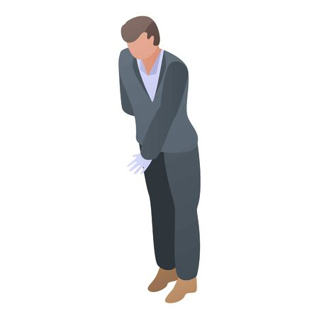 Gentleman butler icon, isometric style