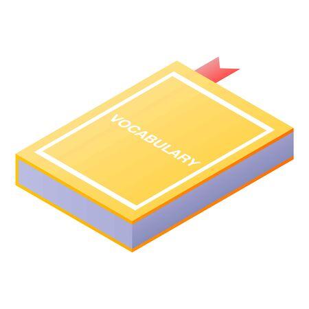 Vocabulary book icon, isometric style