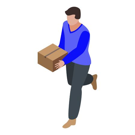 Running courier icon, isometric style