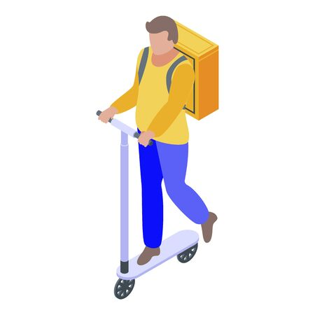 Courier kick scooter icon, isometric style