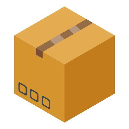 Carton parcel box icon, isometric style