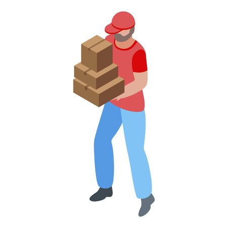 Courier parcel delivery icon, isometric style