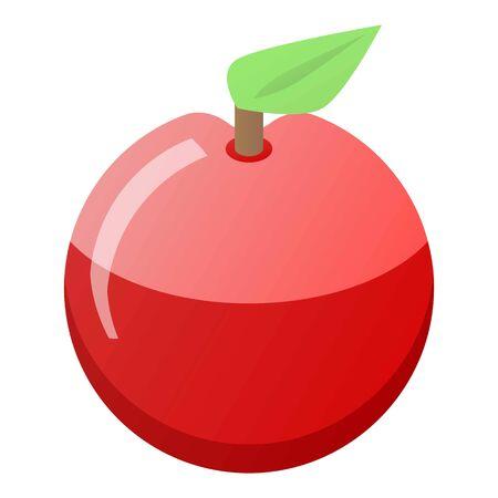 Fresh eco red apple icon, isometric style Illustration