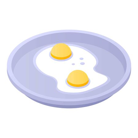 Fried eggs on tray icon, isometric style