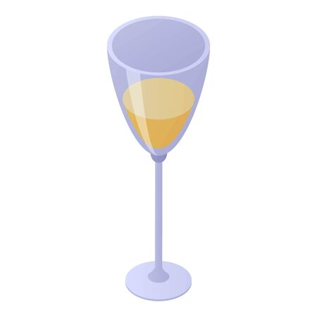 Champagne glass icon, isometric style